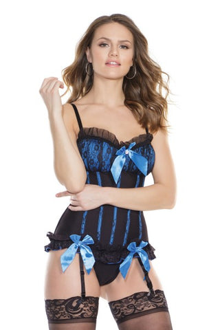 Black Floral Lace Babydoll & G-String Set (7193)