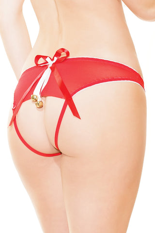 Red Lace & Jingle Bells Crotchless Panty (3706)