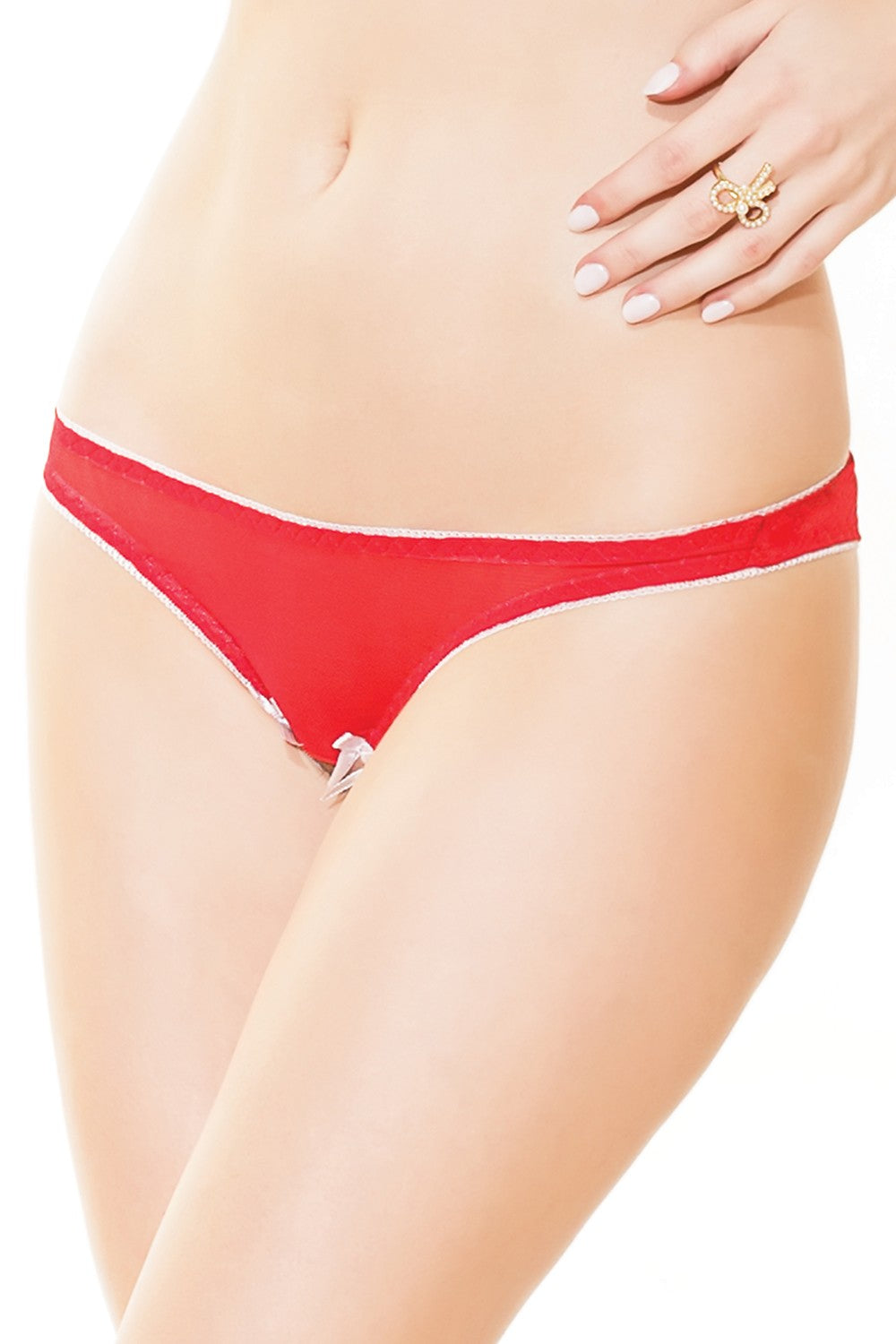 Crotchless Holiday Panties with Jingle Bells (3412)