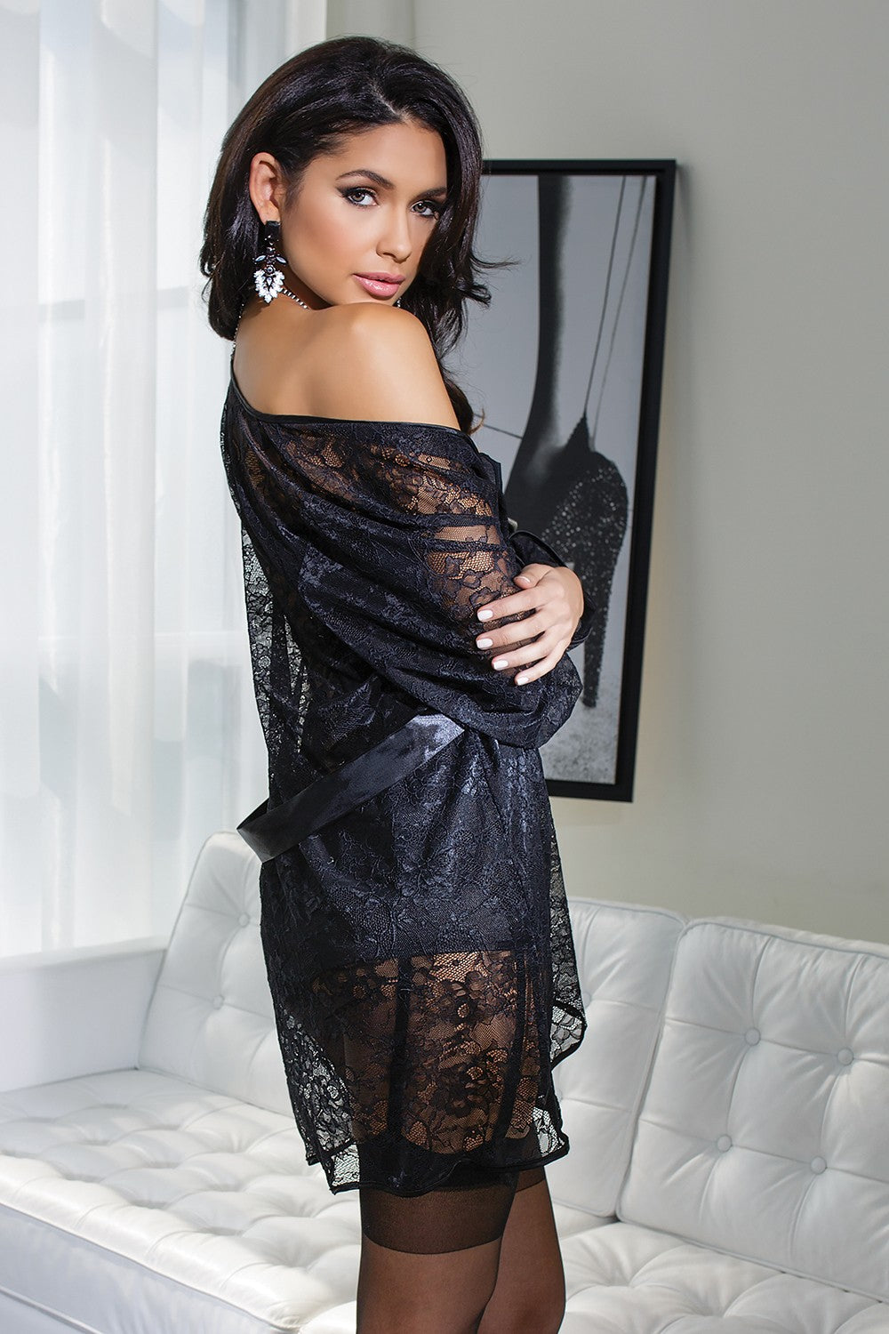Floral Lace Robe (3708)