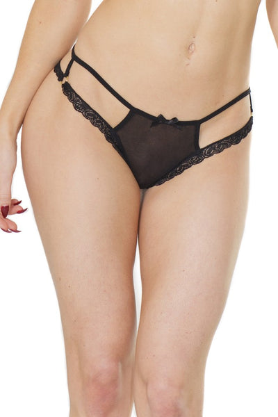 Sheer Cutout Thong (375)