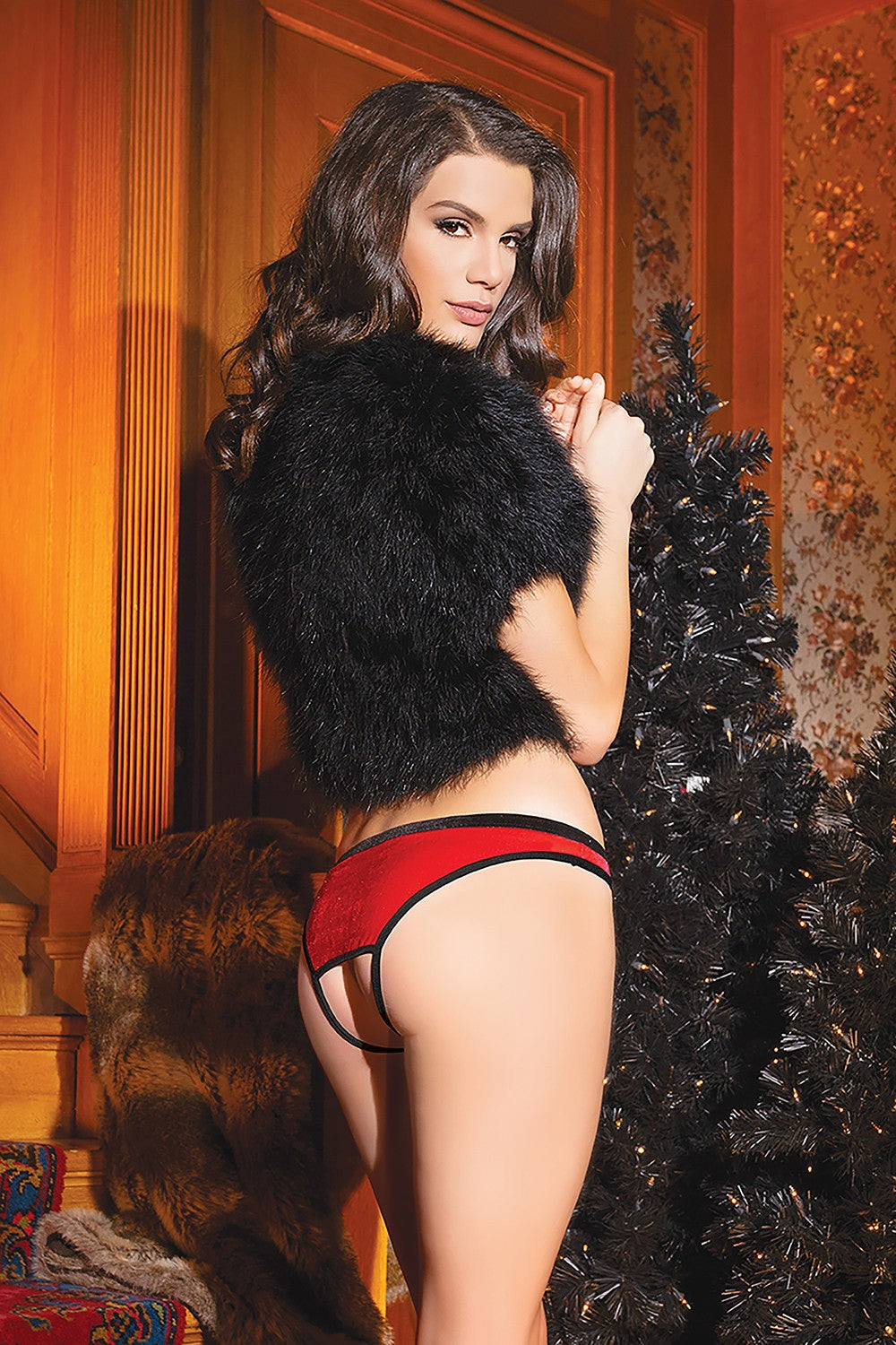 Red Velvet Holiday Crotchless Panty (3763)