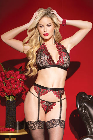 Bands of Lace Bow Teddy (B459)