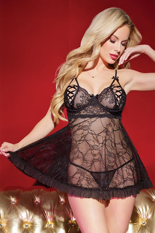 Black Lace Babydoll & G-String Set (3814)