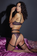 Black and Lilac Floral Lace Bra, G-String, & Garter Belt Set (3835)