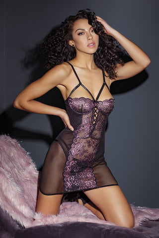 Black and Lilac Floral Lace Chemise (3839)
