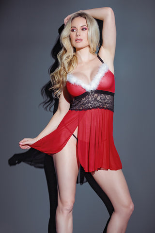 Holiday Mesh Babydoll & G-String Set (3851)