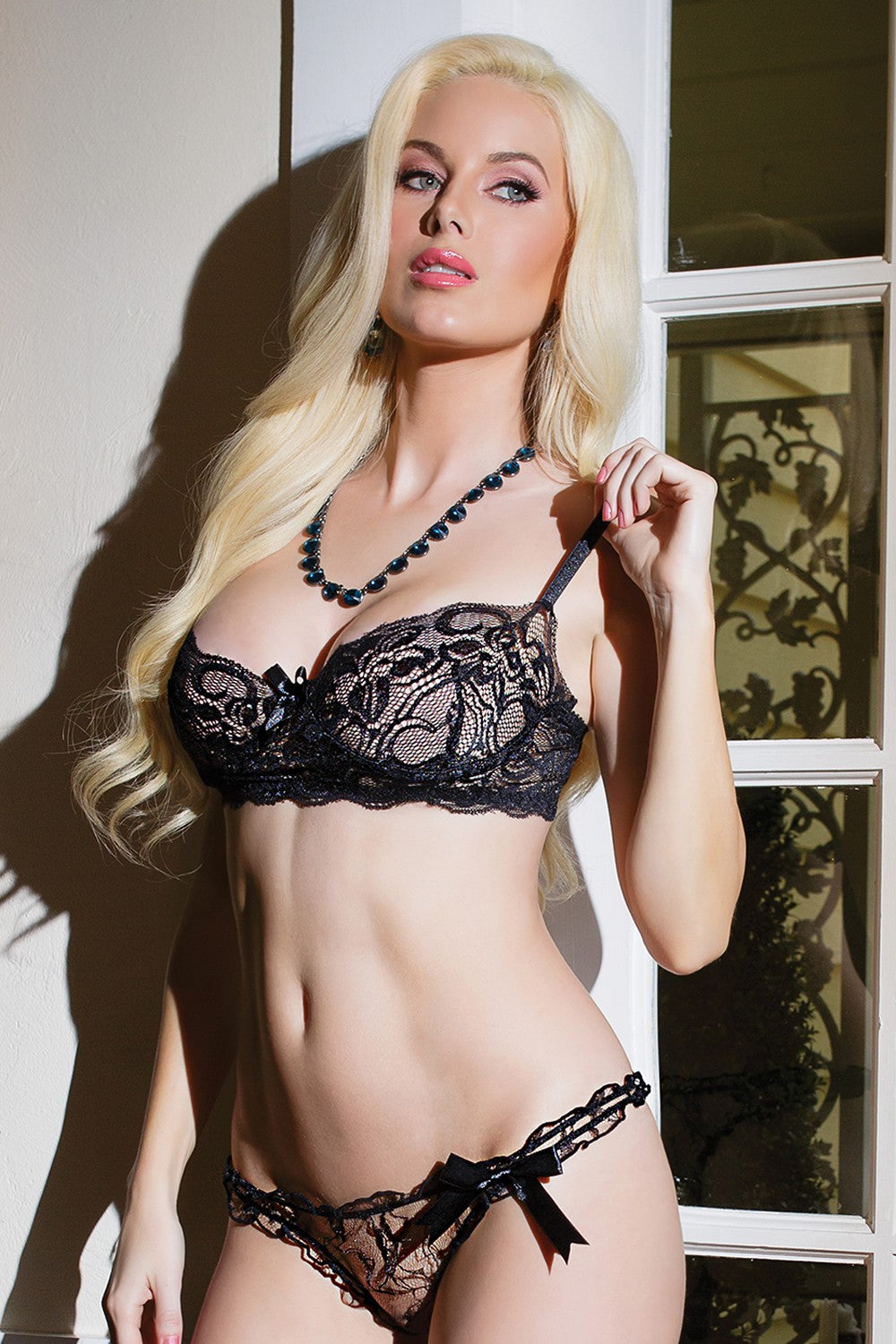 Black Floral Lace Bra & Panty Set (1027)