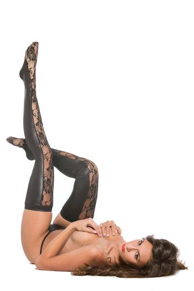 Lace & Wetlook Thigh-Hi Stockings (7-2602)