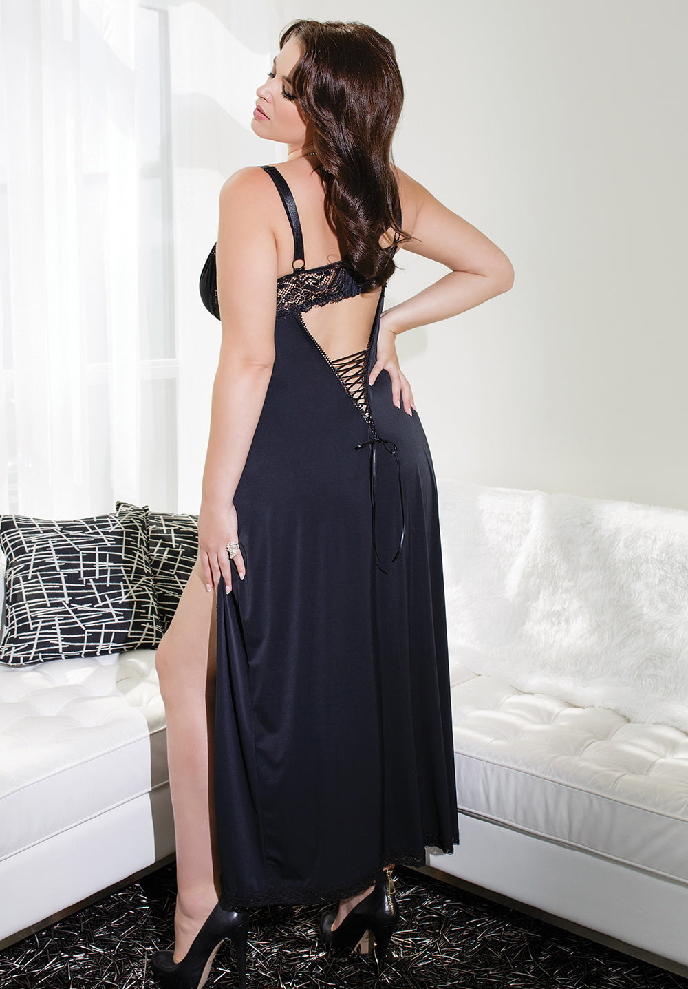 Black Microfiber & Lace Gown (7049)