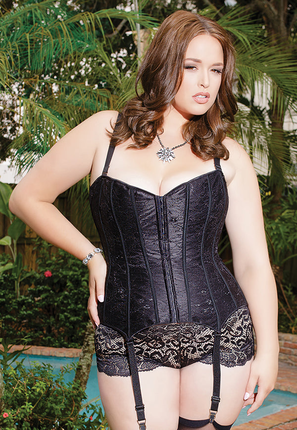 Satin and Lace Overlay Corset (7062)