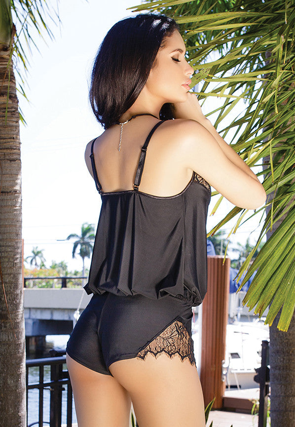 Microfiber and Lace Romper (7066)