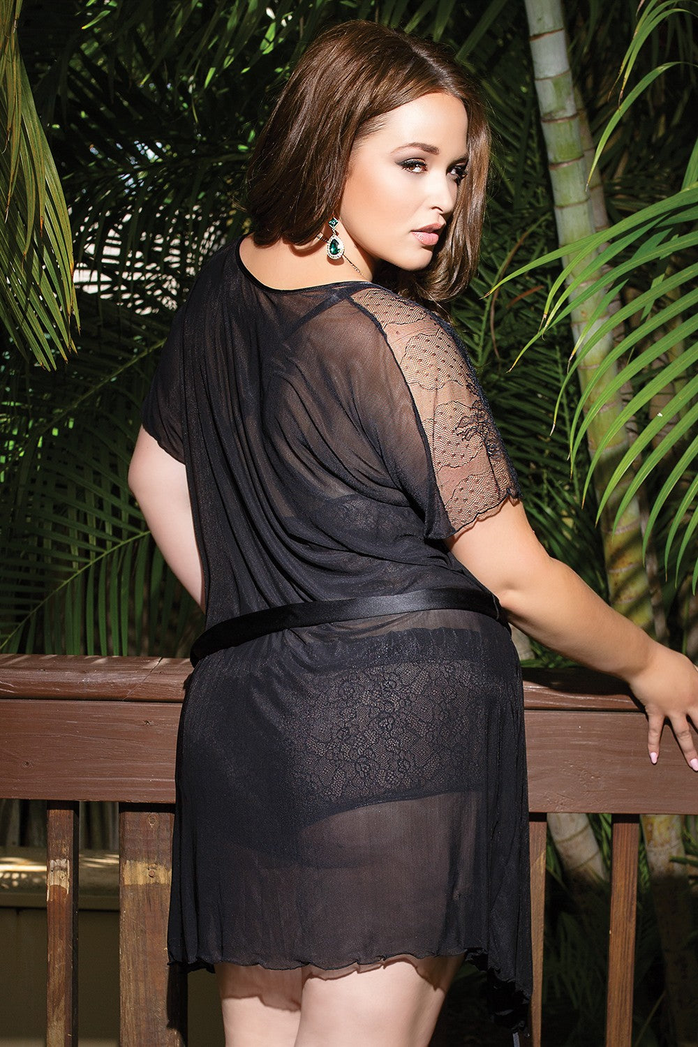 Black Mesh and Lace Robe (7067)