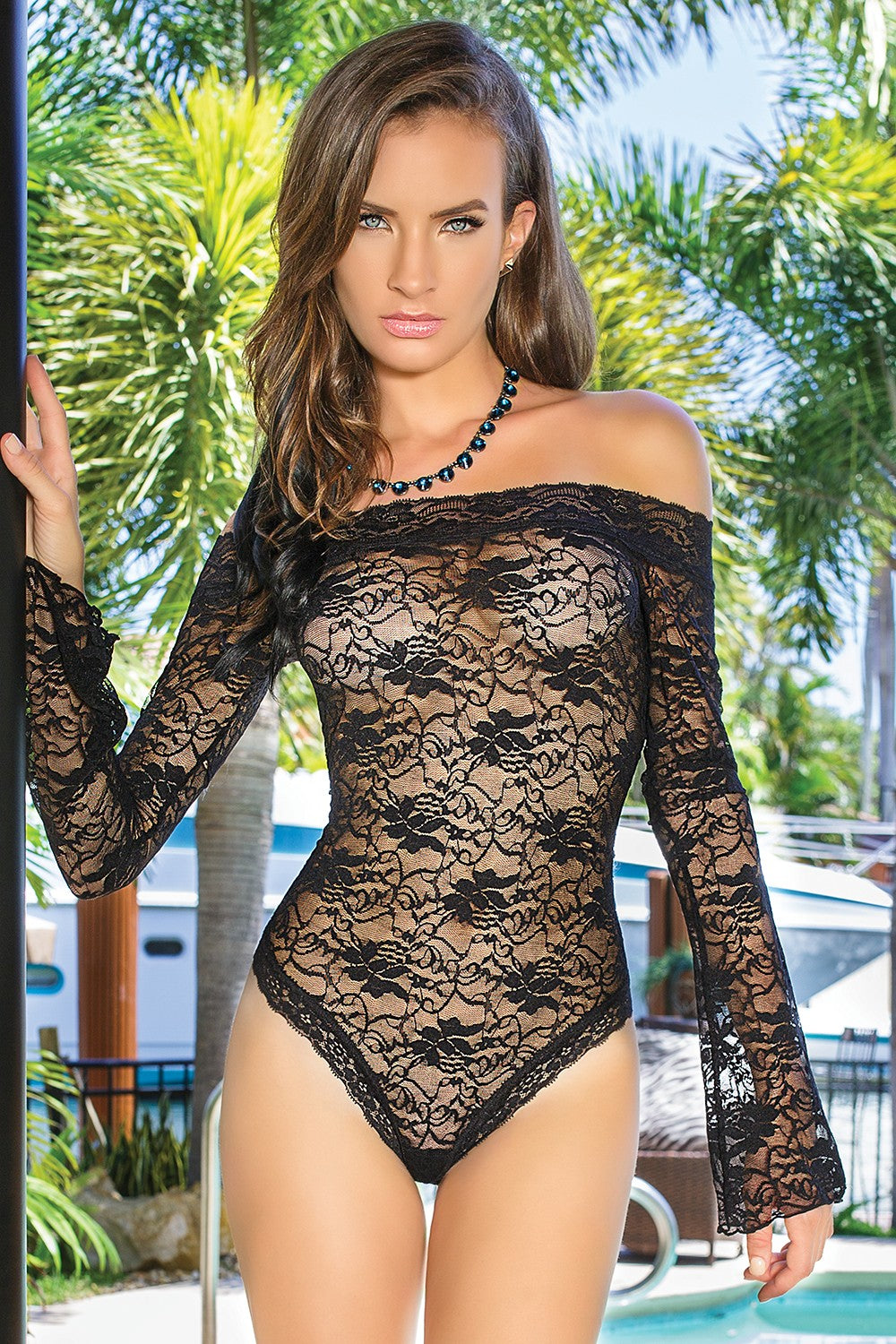 Off-Shoulder Lace Teddy (7069)