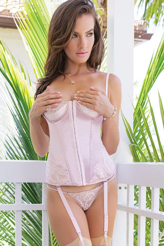 Dusty Rose Satin Corset Bustier (7074)