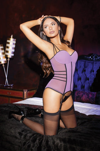 Lilac Fishnet and Microfiber Bustier (7110)