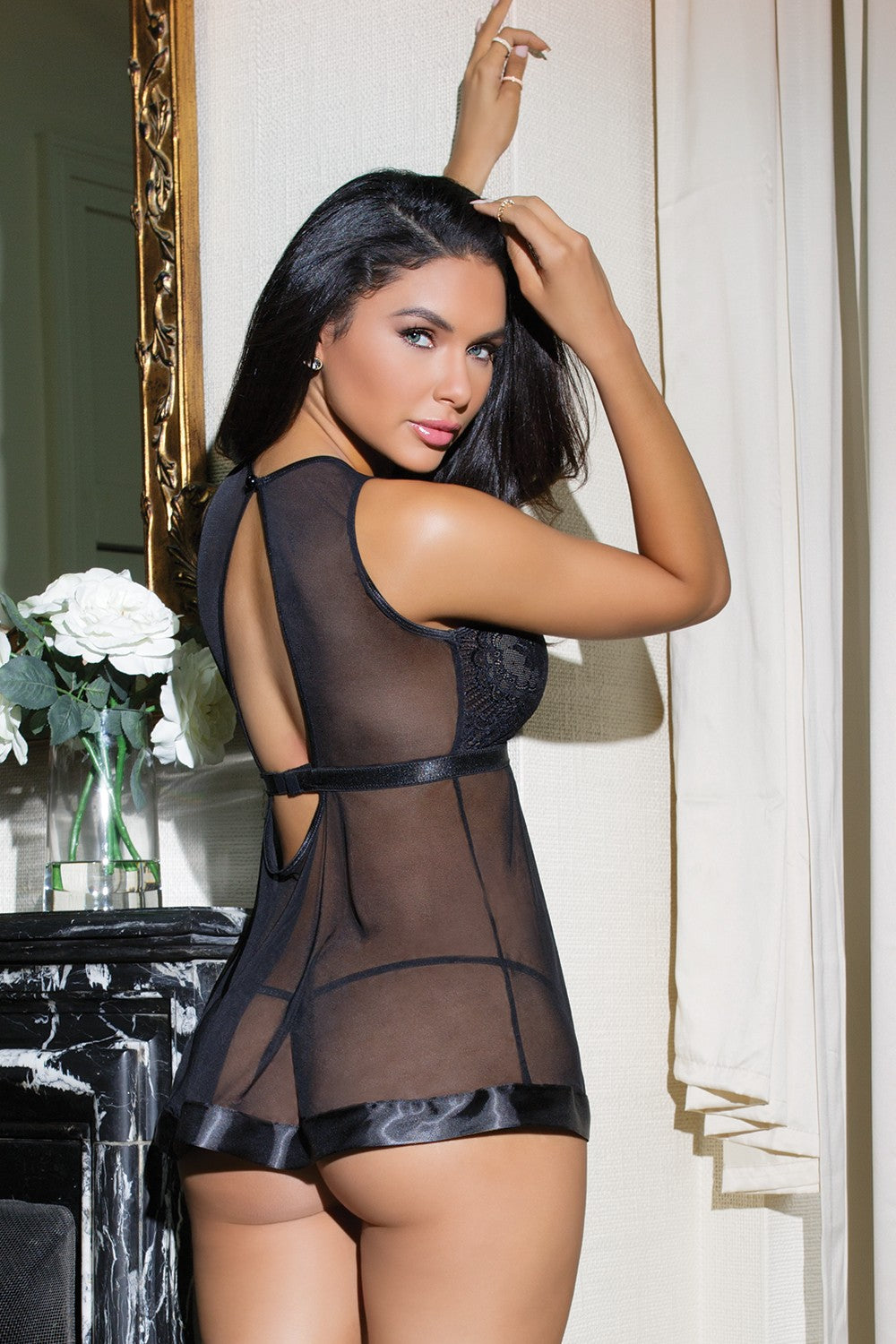 Sheer Lace-Top Babydoll & G-String Set (7115)