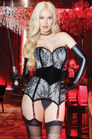 Black Magic Halter Merry Widow, Bandeau Bra, & G-String Set (B678)