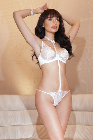 White Floral Lace Convertible Teddy (7138)