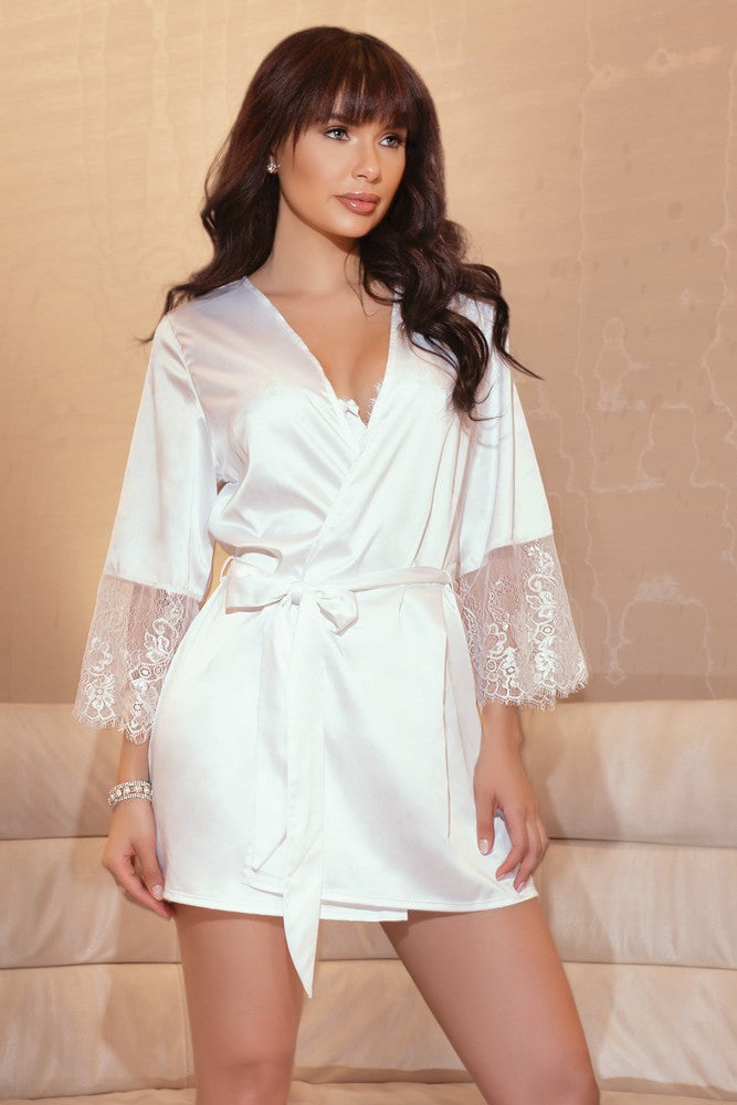 Satin and Lace Robe (7143)