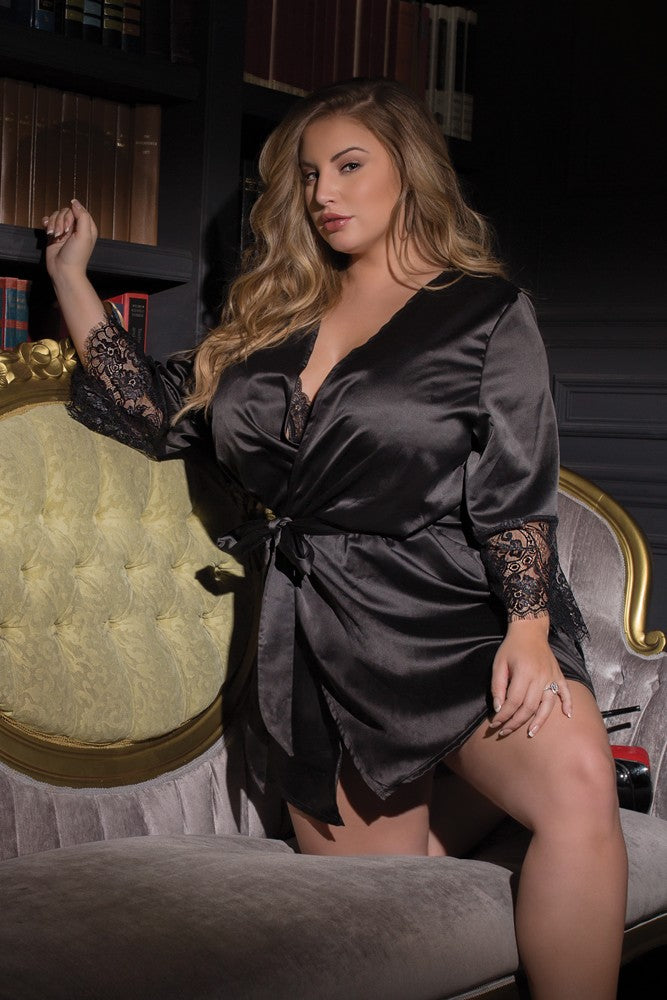 Black Satin Robe (7143)