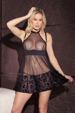 Mesh and Lace Halter Teddy (B561)