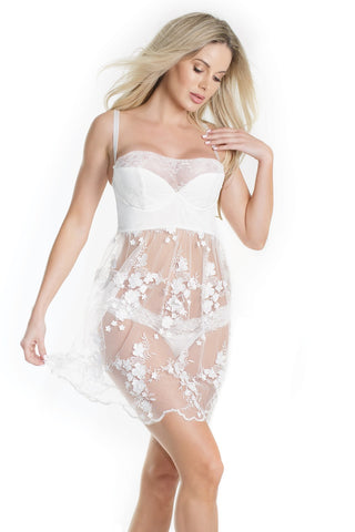 Lace and Floral Babydoll and Thong Set (7187)