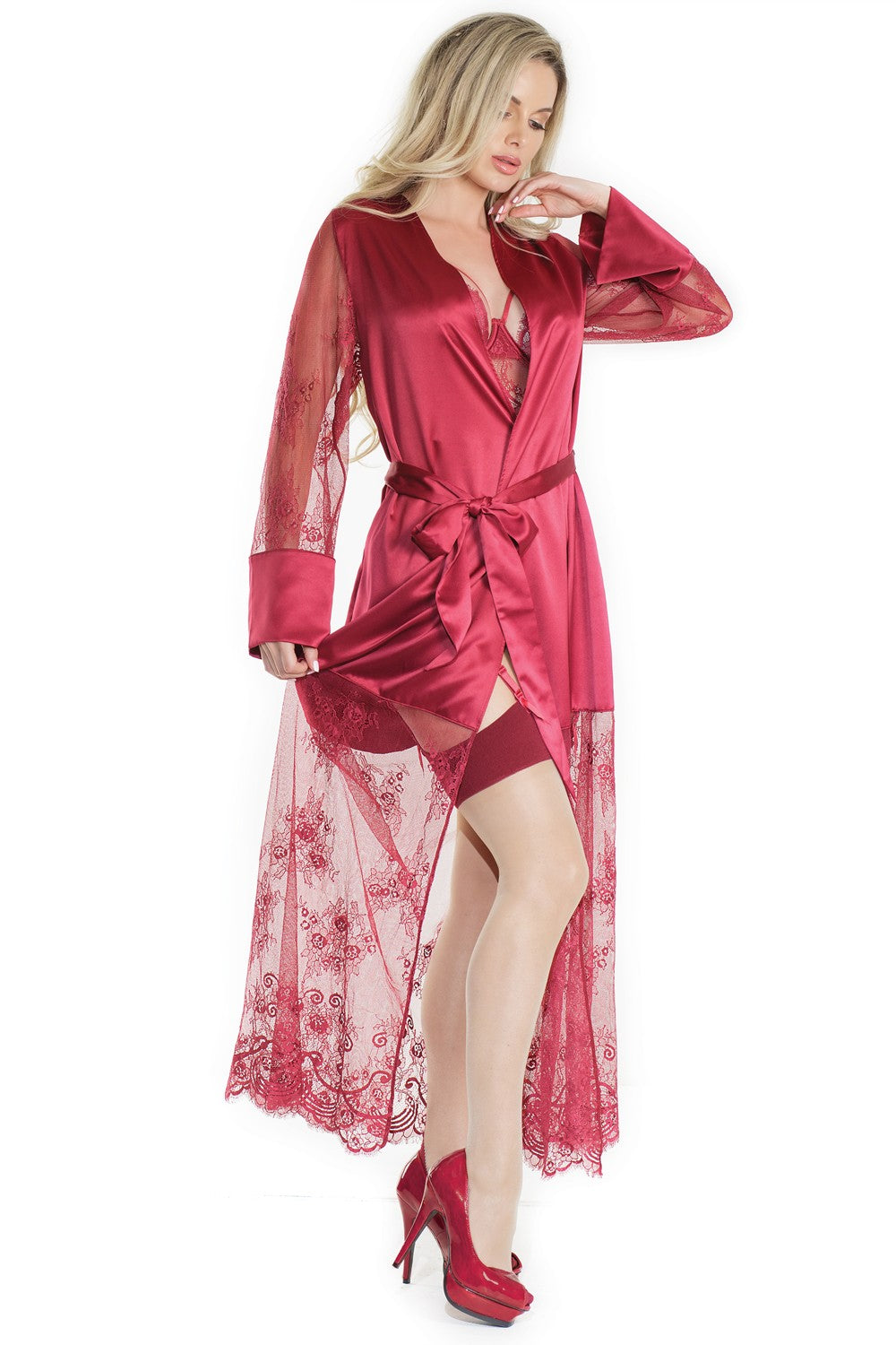 Merlot Satin and Lace Long Robe (7201)