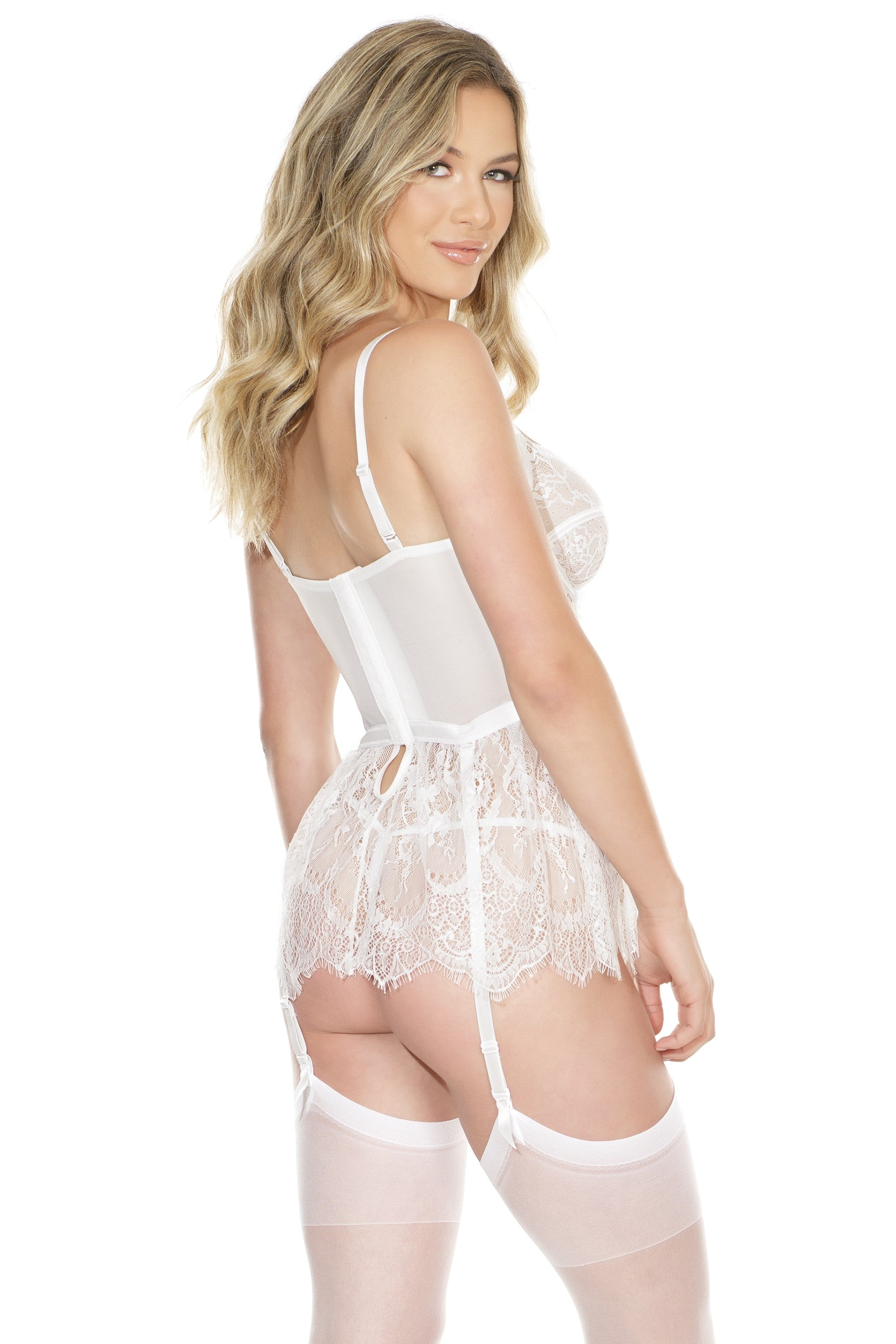 White Lace Peplum Bustier (7215)