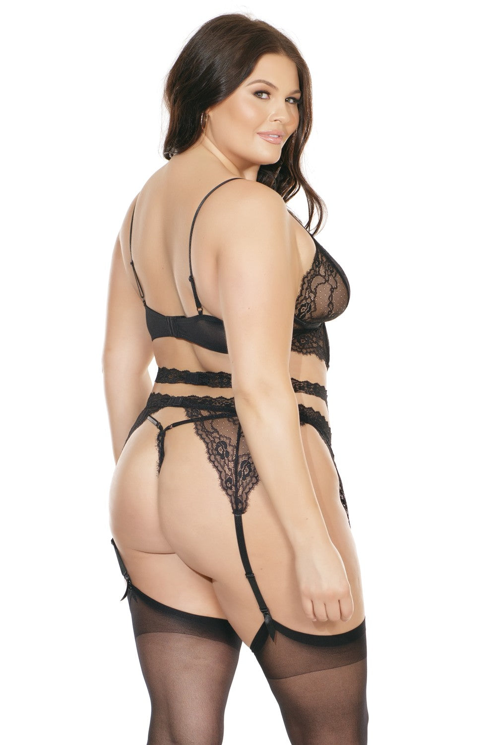 Lace Longline Bra, Garter Belt, & G-String Set (7217)
