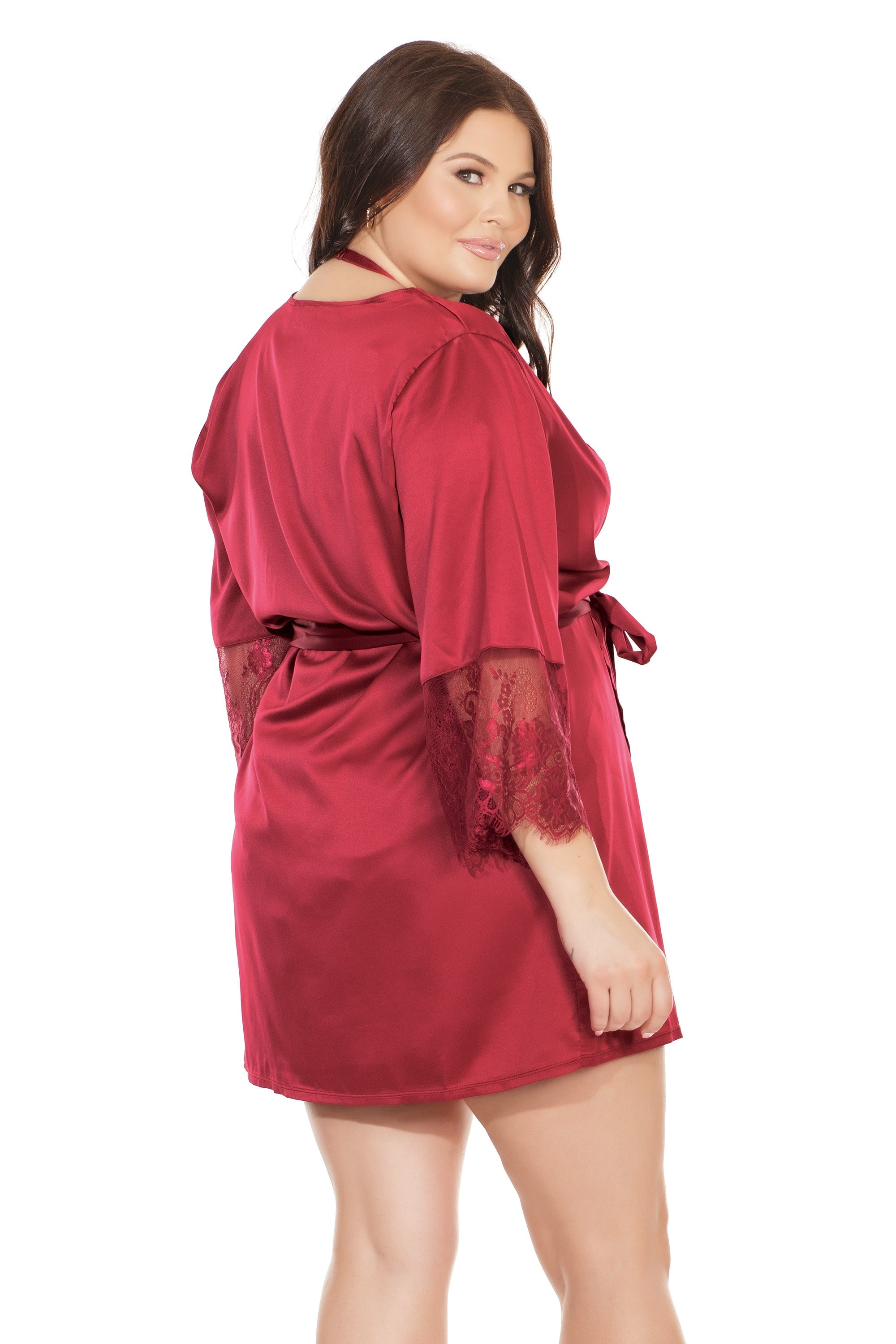 Merlot Satin Robe with Lace Trim (7224)