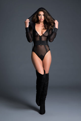 Hooded Fishnet Teddy (A1021)