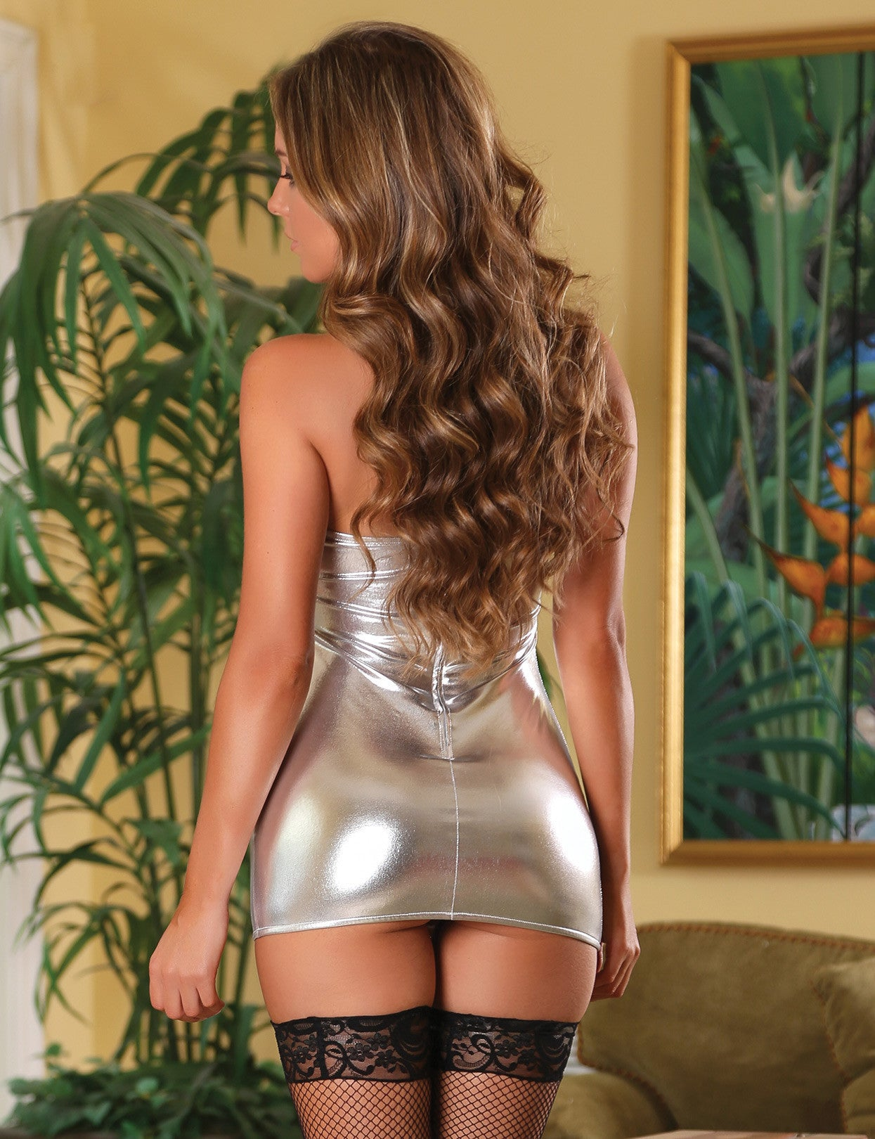 Liquid Metal Tube Dress & G-String Set (B638)
