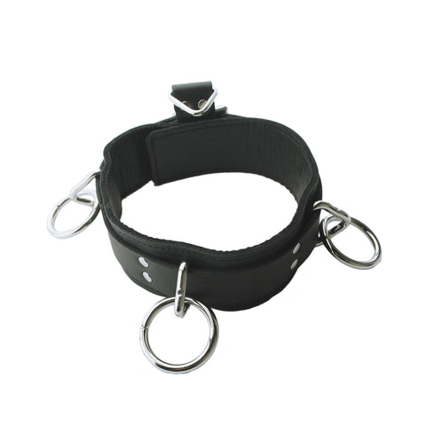 Locking Leather 3-Ring Collar