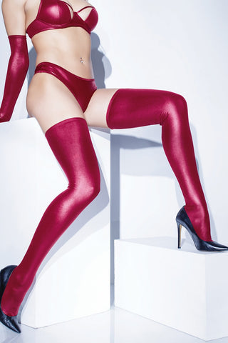 Metallic Merlot Wetlook Stockings (D1880)