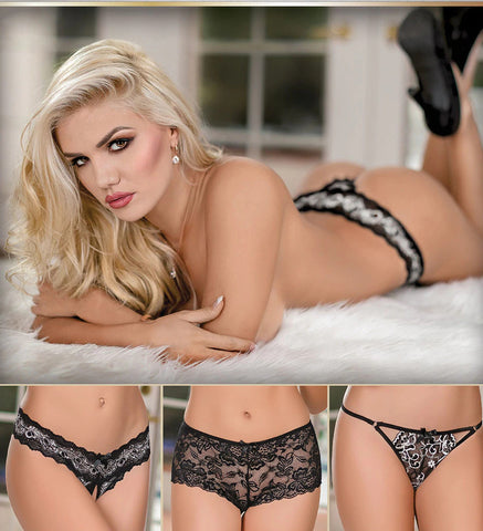 Combination Lace Garter Skirt and Crotchless Panty (181)