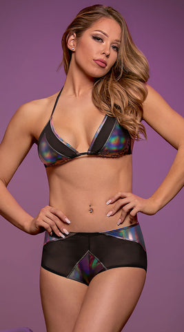 Holographic Triangle Bra & Boyshort Set (M167)