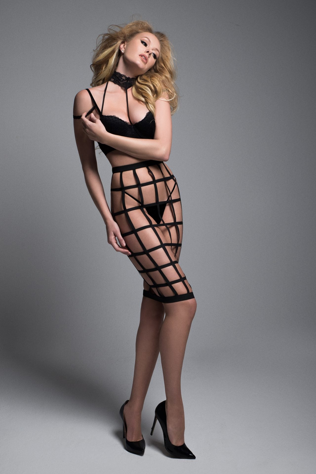 Lacey Bra and Cage Skirt Set (A1034)