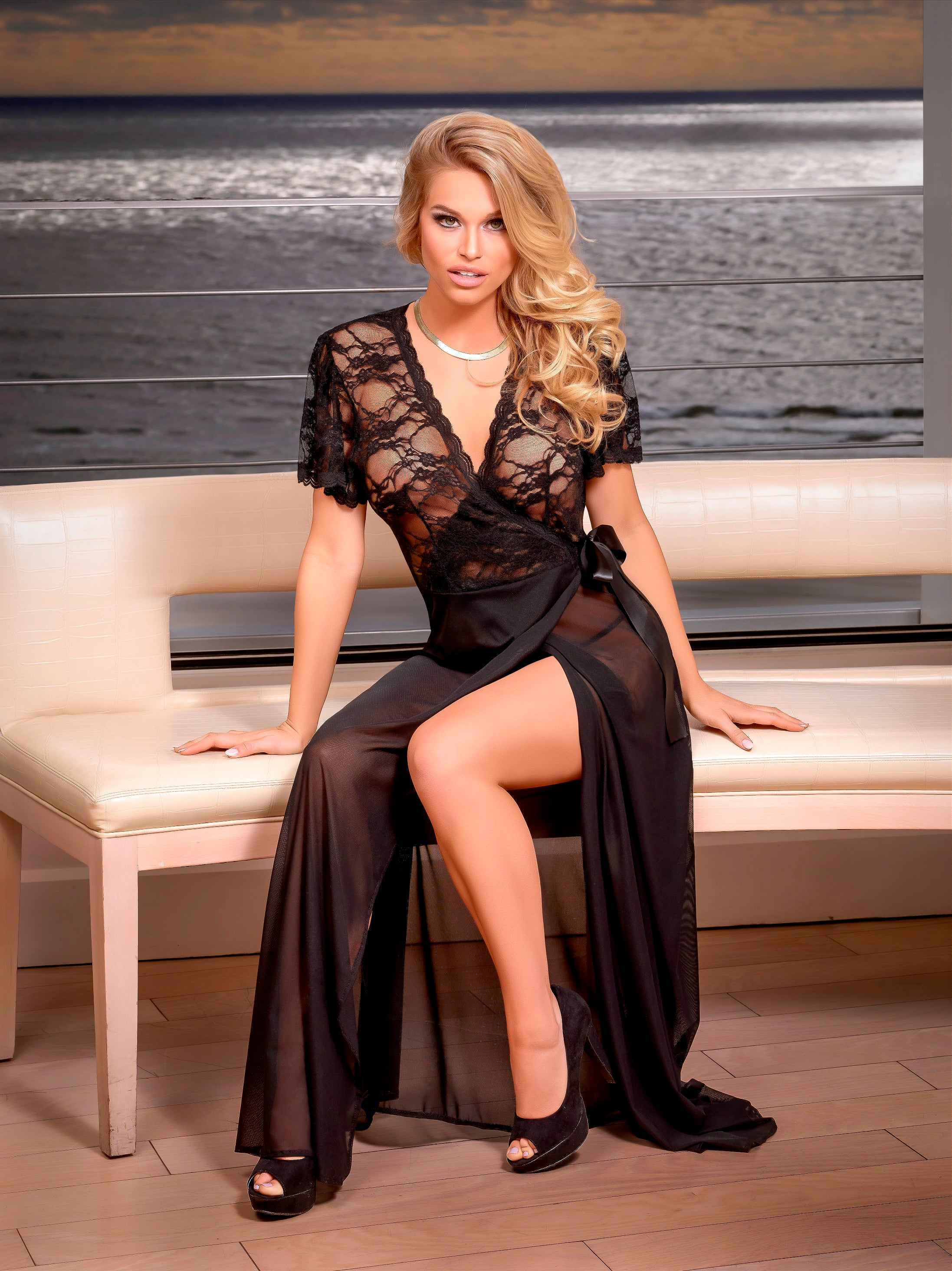 Mesh and Lace Wrap Gown & G-String Set (B563)