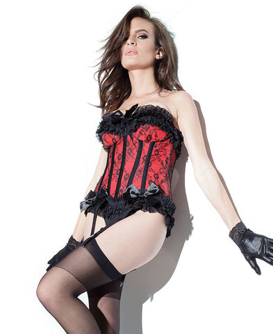 Red and Black Wetlook and Lace Corset (D9237)