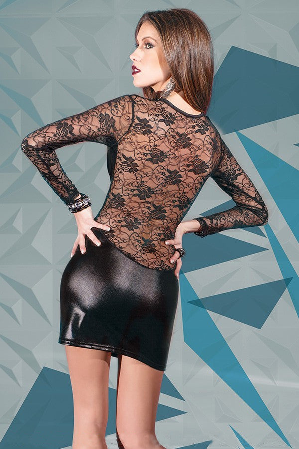 Long-Sleeve Lace and Wetlook Dress (D9251)