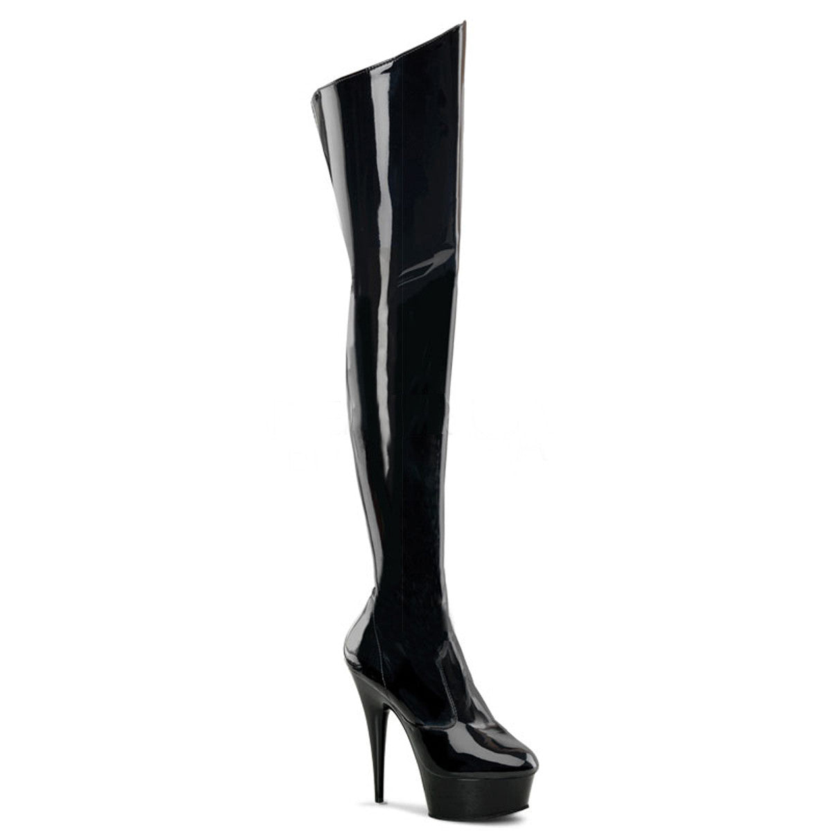 Black Patent Stiletto Thigh-High Boots (Delight 3010)