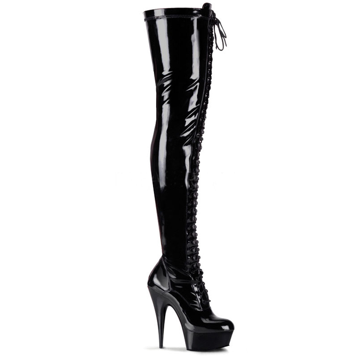 Thigh-High Lace-Up Stiletto Boot (Delight 3023)
