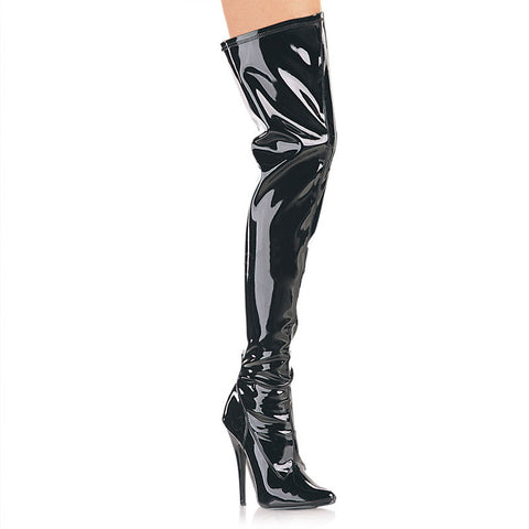 Black Patent Lace-Up Dominatrix Boot (Domina 3023)