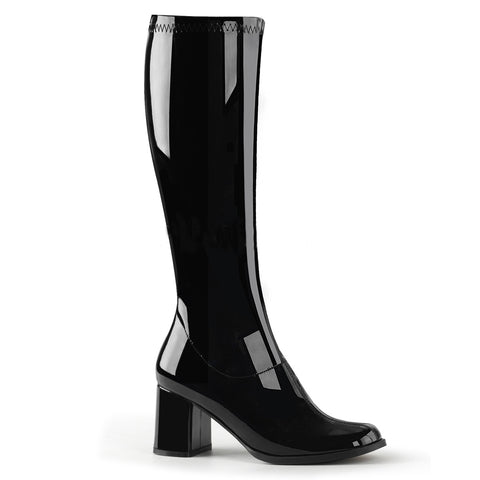 Black Patent Knee-High Boot with Stardust Platform (Adore 2000)