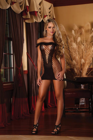 Club Seamless Gartered Mesh Catsuit (S118)