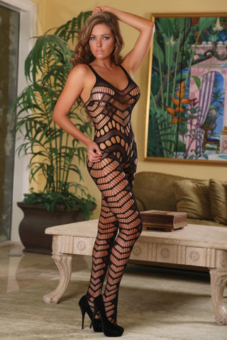 Club Seamless Fishnet Gartered Catsuit (S127)