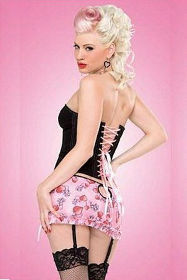 Black Denim Corset with Pink Lacing (P4433)