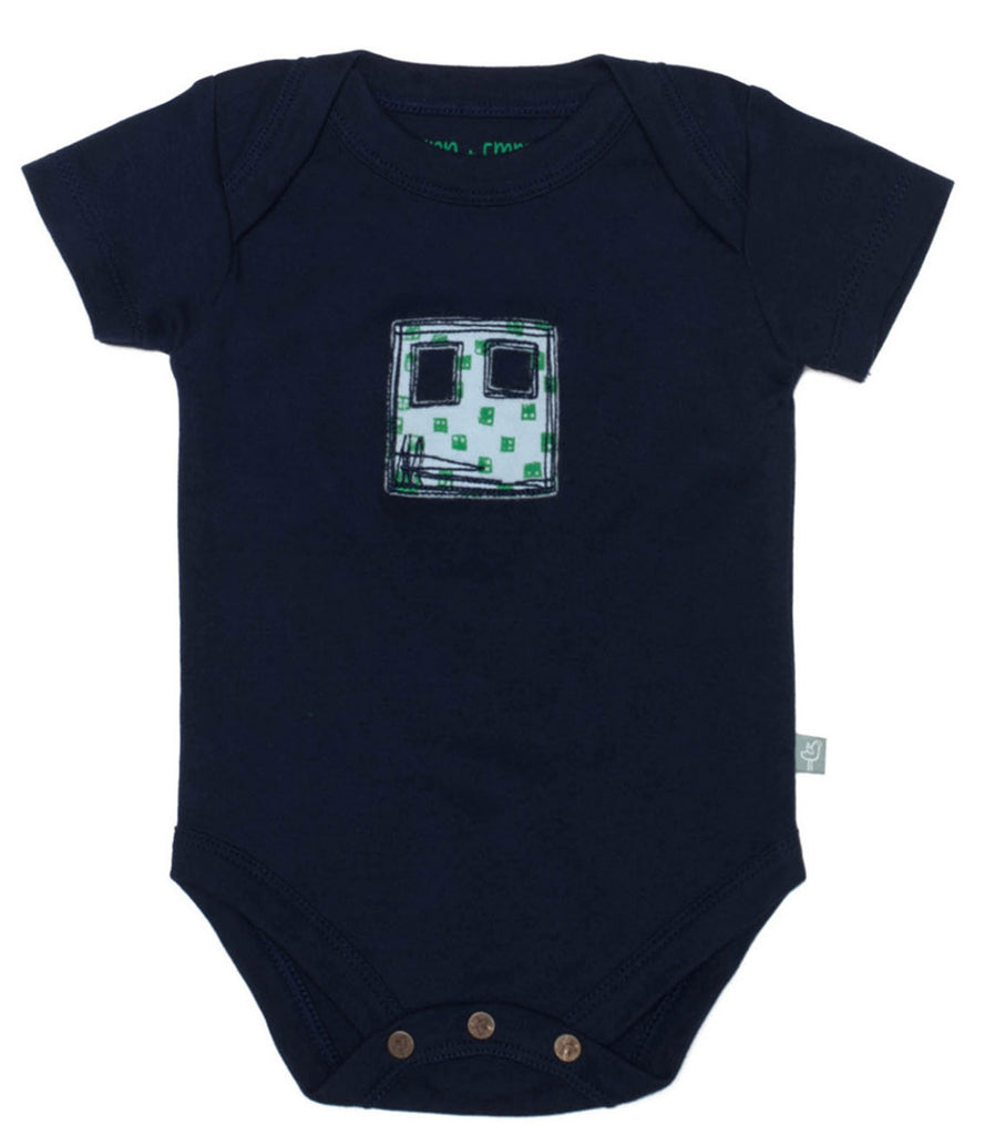 Short Sleeve Peacoat Navy Organic Cotton Bodysuit - Angelic Threads