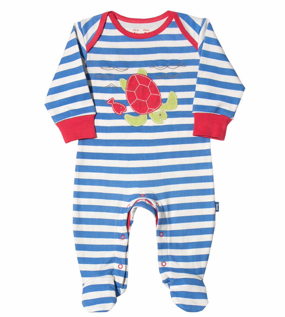 Stripy Blue-Turtle Organic Cotton Sleepsuit - Angelic Threads
